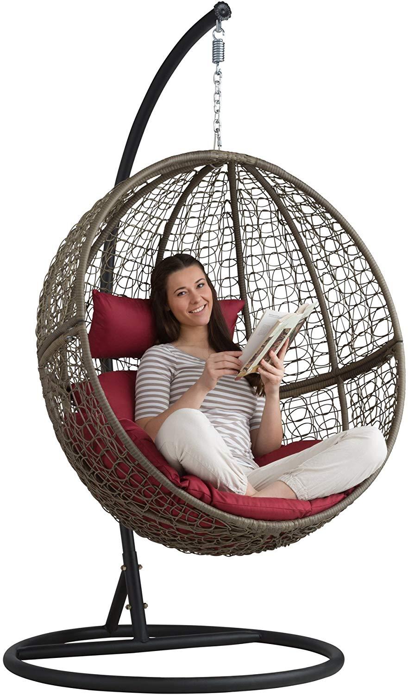 tectake Chaise hamac avec Support en Résine Tressée Fauteuil Suspendu de Jardin Balancelle Transat - diverses Couleurs au Choix - (Marron |