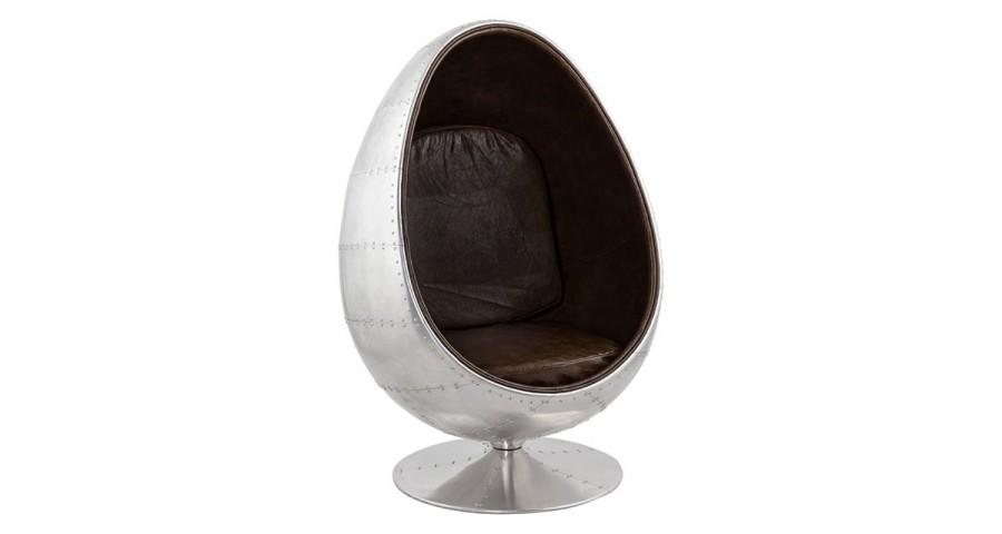 Fauteuil œuf aviateur en métal et similicuir marron